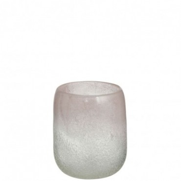 Vase Scavo Rond Verre Rose Medium