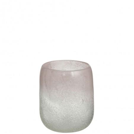 Vase Scavo Rond Verre Rose Medium