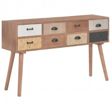 Console avec 8 tiroirs en bois de pin massif 120x30x76cm