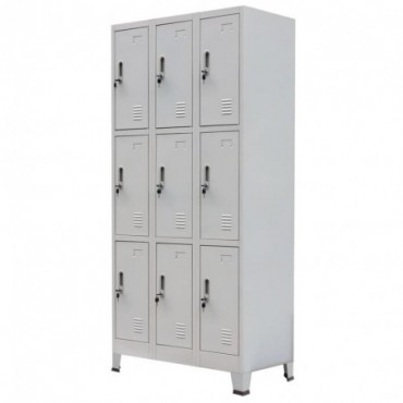 Armoire à casiers avec 9 compartiments en acier Gris 90x45x180cm