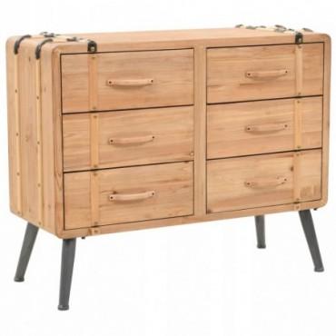 Armoire à tiroirs en bois de sapin massif 91x35x73cm