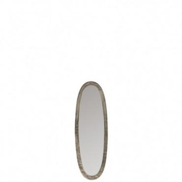 Miroir Ovale Aluminium/Verre Antique Gris Petit