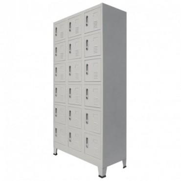 Armoire de vestiaire avec 18 compartiments Métal 90x40x180cm
