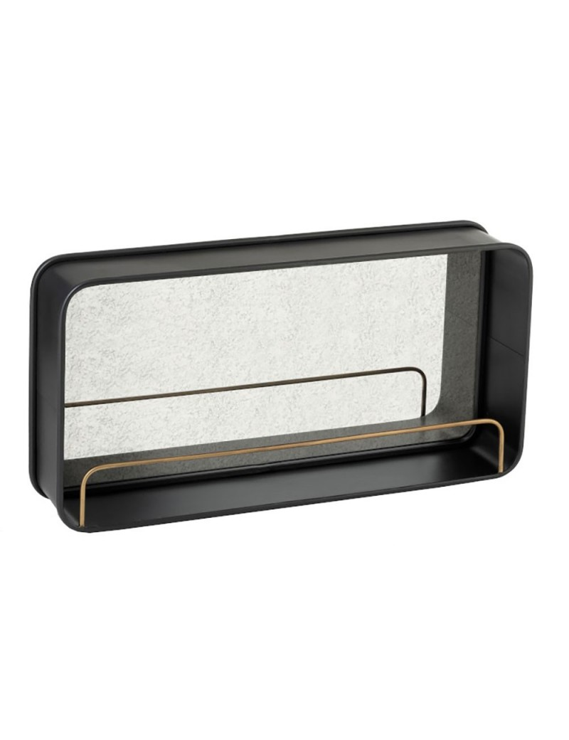 Etagere + Miroir Metal/Verre Noir