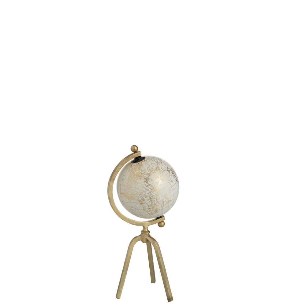 Globe Trepied Metal/Plastique Or/Blanc Small