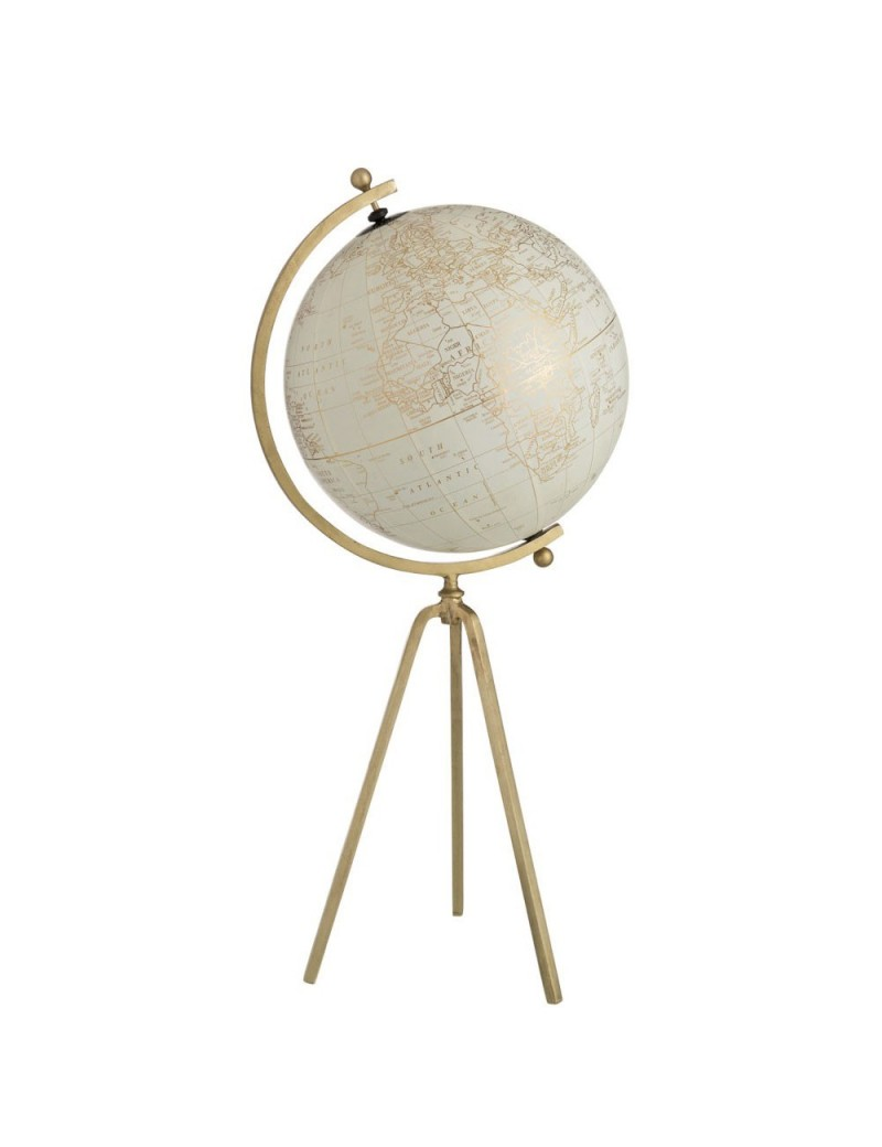 Globe Trepied Metal/Plastique Or/Blanc Large