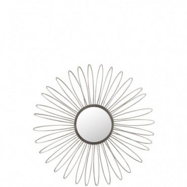Miroir + Led Rond Metal/Verre Argent