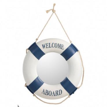Miroir Bouee De Sauvetage Resine Bleu