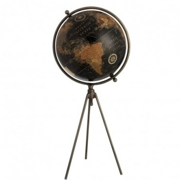 Globe Trepied Metal/Plastique Noir Large