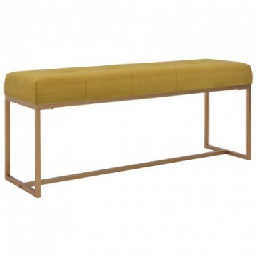 Banc Moutarde assise en velours 120cm