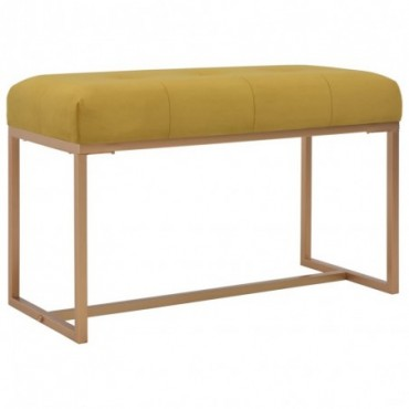 Banc Moutarde assise en velours 80cm