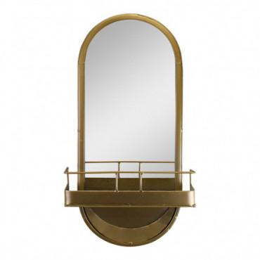 Miroir arqué en métal doré avec étagère de rangement hauteur 50 cm