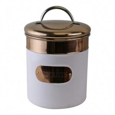 Boîte à biscuits en cuivre et métal blanc