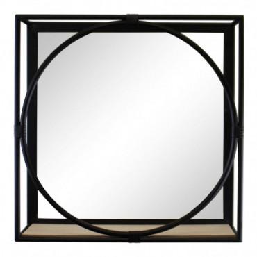 Miroir avec cadre en métal noir et etagère en bois hauteur 40 cm