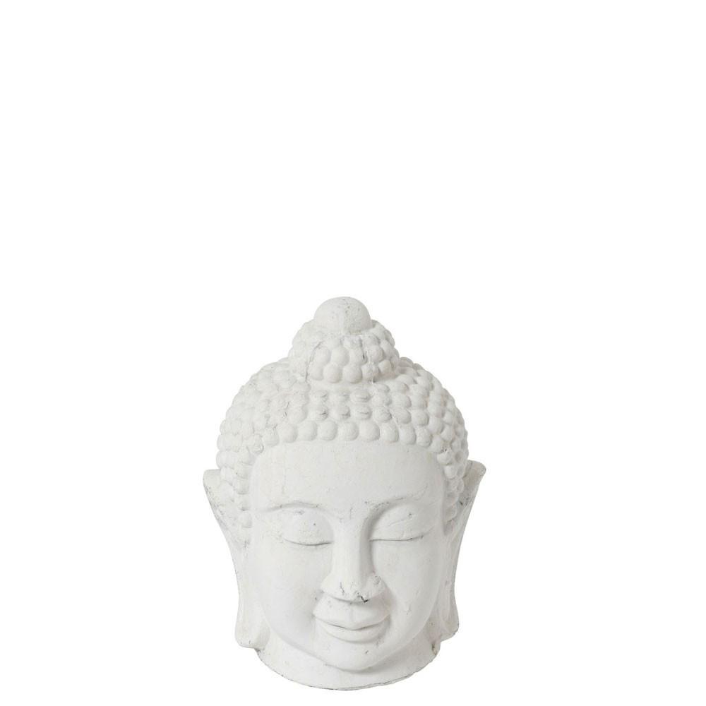 Figurine Bouddha Ceramique Blanc Medium