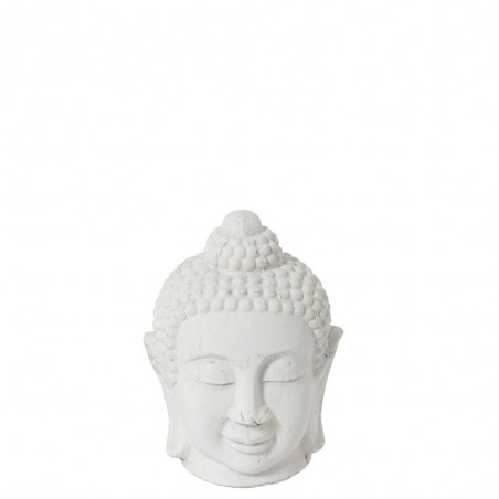 Figurine Bouddha Ceramique Blanc Medium
