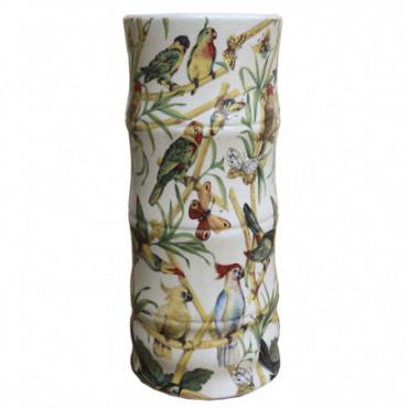 Porte-Parapluie en céramique bambou et oiseau tropical