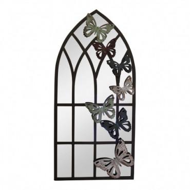 Miroir de jardin fenêtre d'église motif papillon hauteur 65 cm