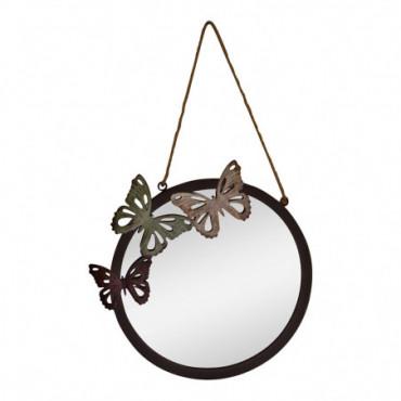 Miroir de jardin circulaire motif papillon hauteur 33 cm