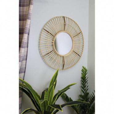 Miroir circulaire effet rotin naturel 70cm
