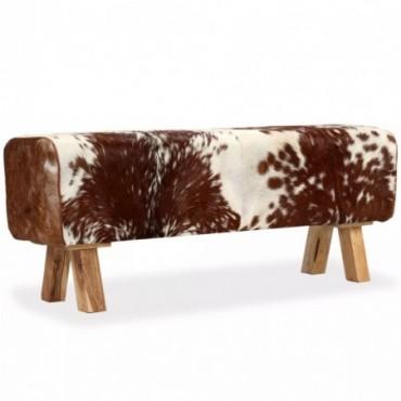 Banc en cuir véritable de chèvre Blanc Marron 120x30x45cm