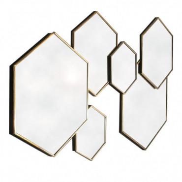 Multi-Miroir à cadre doré - hexagonal