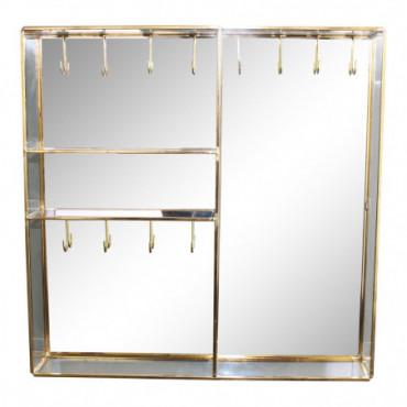 Boîte à bijoux avec crochets en métal doré et miroir en verre