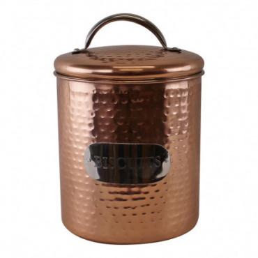 Boîte à biscuits en cuivre martelé 17x14cm