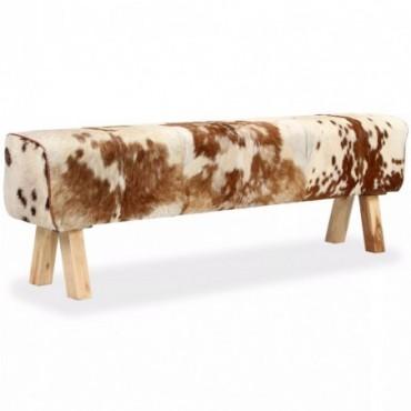 Banc en cuir véritable de chèvre Blanc Marron 160x28x50cm