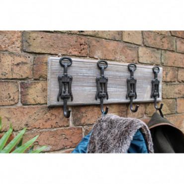 Patère 4 crochets muraux en fonte rustique et en bois ouvre-bouteilles