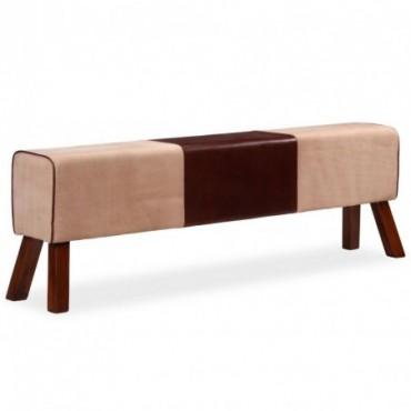 Banc en cuir véritable et toile Marron et beige 160x28x50cm