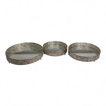 Assiettes à bougies en métal argenté et miroir lot de 3