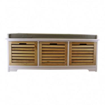 Banc de rangement blanc et naturel à 3 tiroirs avec coussin gris