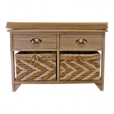 Banc de rangement en bois blanc avec 2 tiroirs et 2 paniers