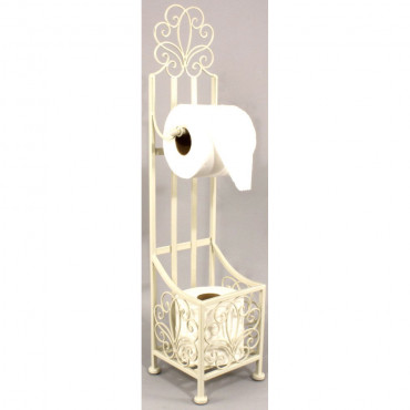 Porte-Rouleau de papier toilette debout couleur crème avec rangement