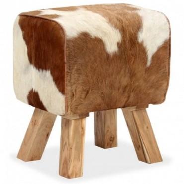 Tabouret cheval d'arçon en cuir véritable de chèvre Blanc Marron...