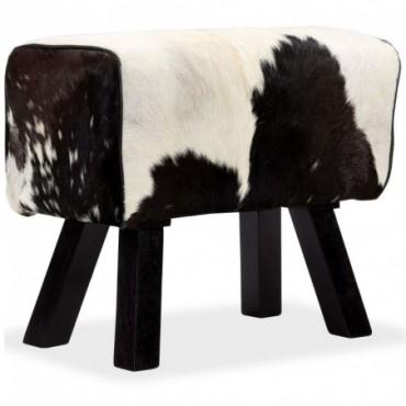 Tabouret cheval d'arçon en cuir véritable de chèvre Blanc Noir...