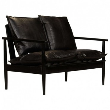 Canapé à 2 places en cuir véritable et en bois d'acacia Noir