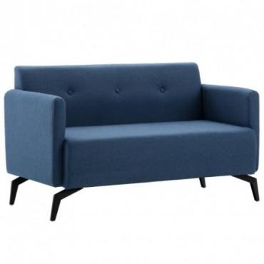 Canapé à 2 places Revêtement en tissu Bleu 115x60x67cm