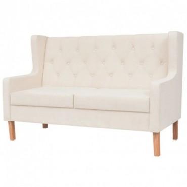 Canapé à 2 places en tissu Blanc crème