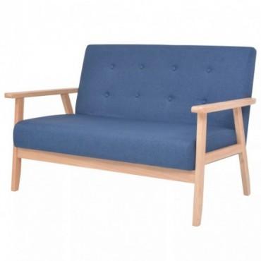 Canapé à 2 places en tissu Bleu 113,5x67x73,5cm (IxPxH)