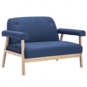 Canapé à 2 places en tissu Bleu 115x69x75cm (lxPxH)