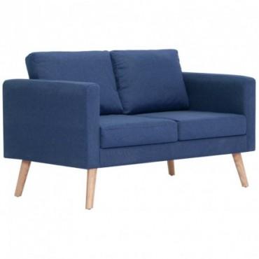 Canapé à 2 places en tissu Bleu Pieds compas 116x70x73cm (lxPxH)