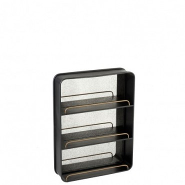 Etagere + Miroir Large Metal/Verre Noir