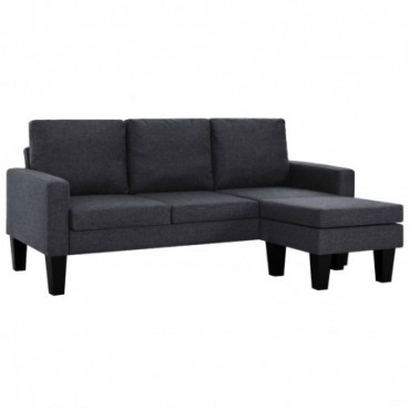 Canapé à 3 places avec pouf en tissu Gris foncé