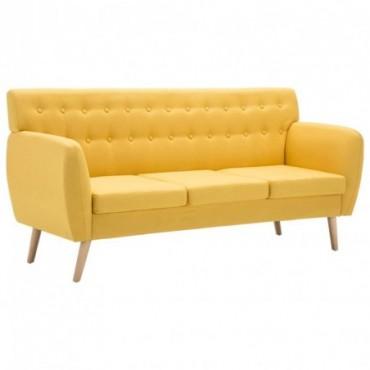 Canapé à 3 places Revêtement en tissu Jaune Pieds compas 172x70x82cm
