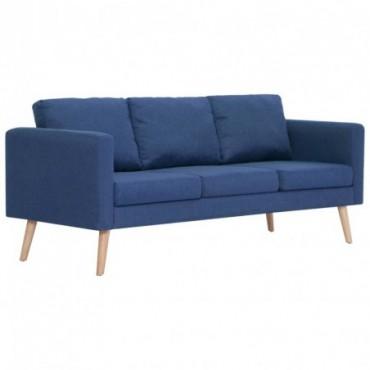 Canapé à 3 places en tissu Bleu Pieds compas 168x70x73cm (lxPxH)