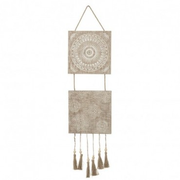 Decoration A Suspendre Orientale Floches Bois/Corde Naturel