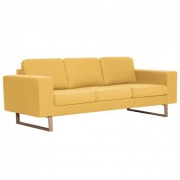 Canapé à 3 places en tissu Jaune  200x82x75cm (lxPxH)