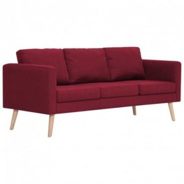 Canapé à 3 places en tissu Rouge bordeaux Pieds compas 168x70x73cm...